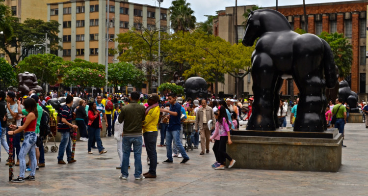 Statues at Botero Plaza in Medellin Colombia.