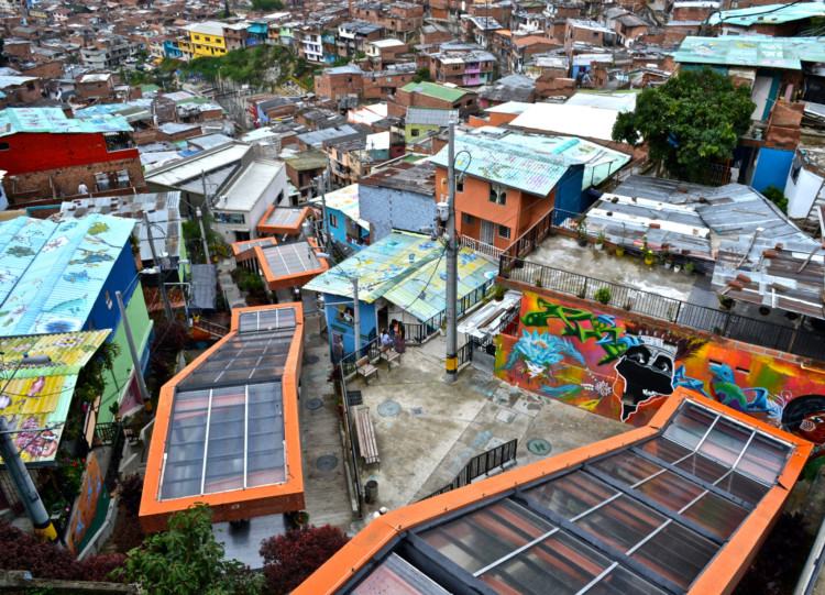 View of Comuna 13 in Medellin from the top.