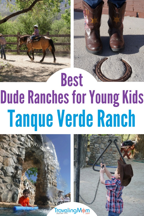 If you think your child is too young to enjoy activities at a dude ranch, think again! From horseback riding, to a playground with slides, to pools and more, there are several reasons why the Tanque Verde Ranch in Tucson, Arizona is one of the best dude ranches for young kids. Photo by Multidimensional TravelingMom, Kristi Mehes. #sponsored #tmom #DudeRanch #TanqueVerdeRanch #FamilyVacation