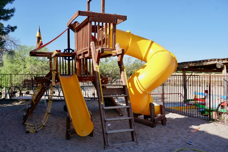 Tanque Verde Ranch even has a playground with slides! Photo by Multidimensional TravelingMom, Kristi Mehes.