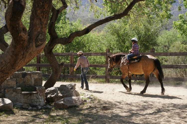 Young kids can ride horses on a mini trail thanks to a lead line! Photo by Multidimensional TravelingMom, Kristi Mehes.