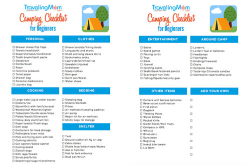graphic about Rv Camping Checklist Printable named Imperative Tenting Suggestions for Beginners + Printable Packing Listing