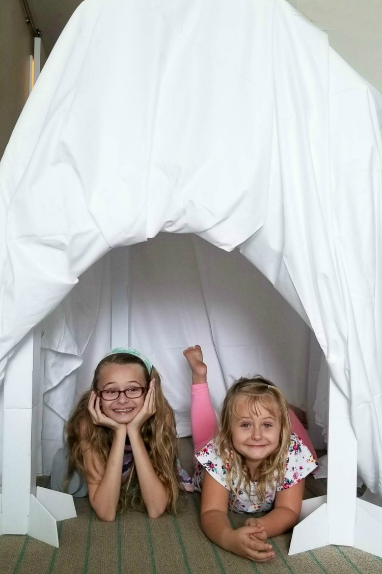 Kids will have a blast building their own fort in the hotel room