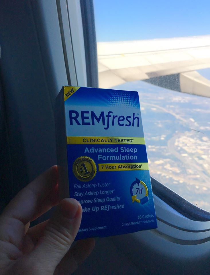 Get more sleep on the plane and decrease symptoms of jet lag with a sleep aid like REMfresh