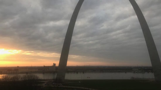 St. Louis arch at sunset - TravelingMom