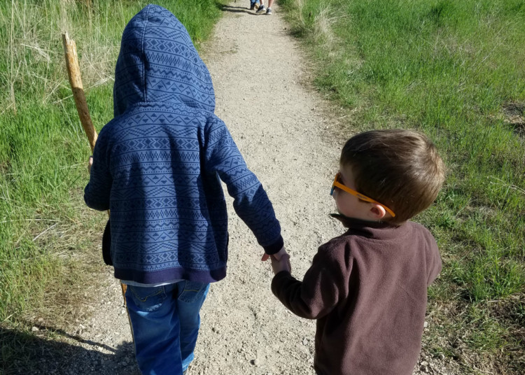 Hiking with kids, brothers holidng hands