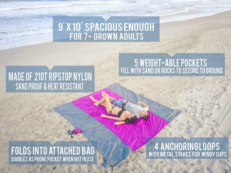 This large sized beach blanket should be on your packing list when packing for the beach, it that can fit the entire family.