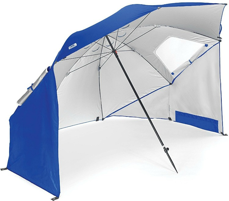We love umbrellas that can fit the entire family when packing for the beach.