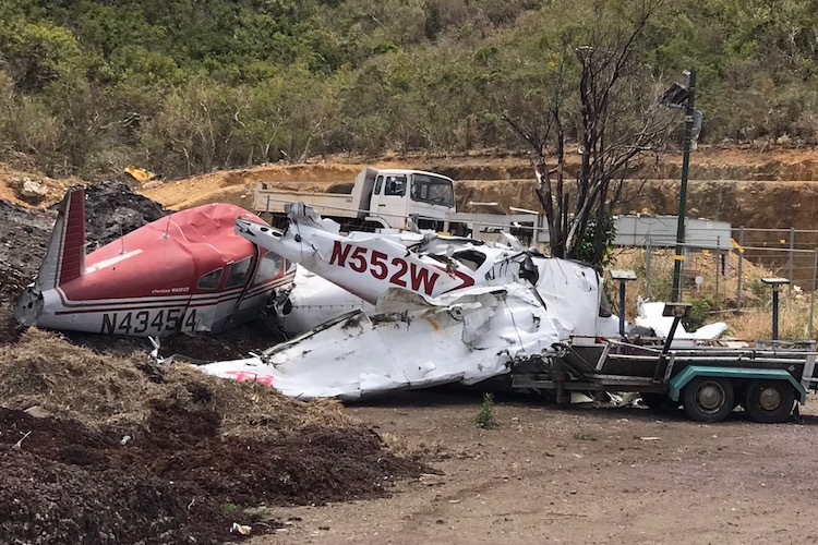 wrecked plane in a lot on St. Barths after Irma