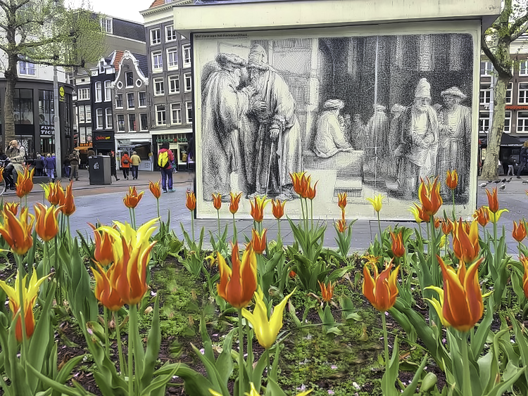 How to visit Amsterdam in two days. Rembrandt Square in Amsterdam attracts visitor and locals alike.