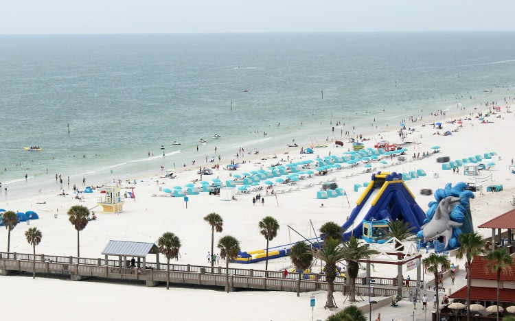 Inflatables on the beach are perfect for a little family fun in Clearwater, Florida