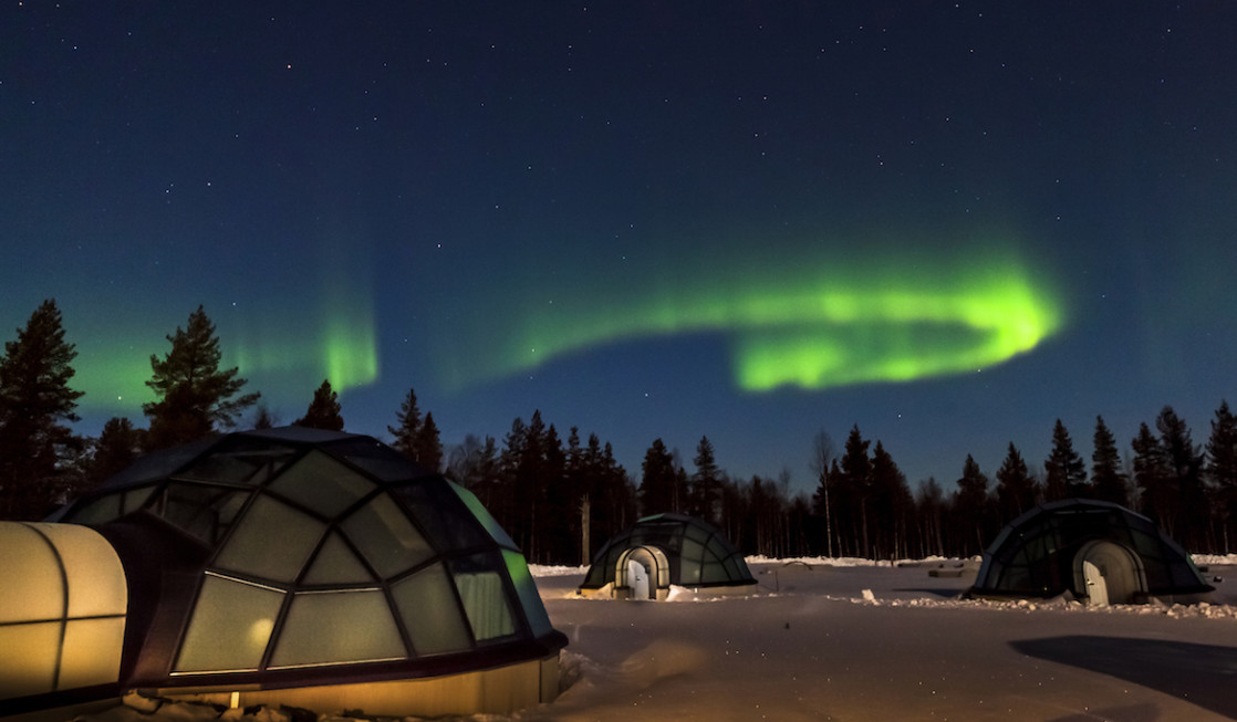 Glamping under the Northern Lights is a way to enjoy luxury travel to Finland.