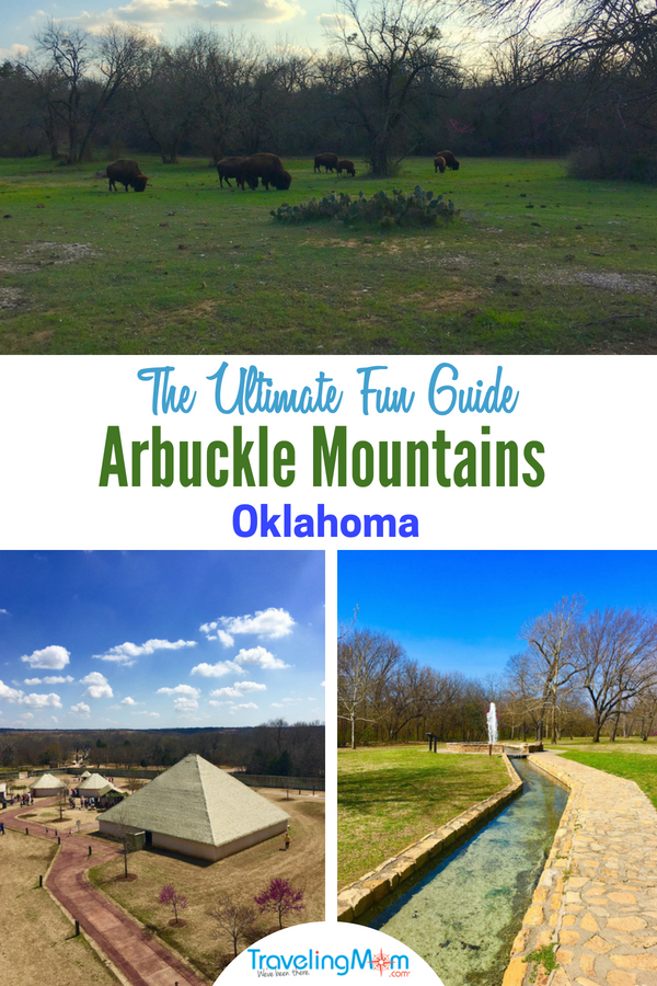 Visit the Arbuckle Mountains in Southern Oklahoma for family fun, like the Chickasaw National Recreation Area, the Chickasaw Cultural Center along with a chocolate factory. Read on for all the activities for families in Sulphur. #TMOM #Oklahoma #FamilyTravel #NationalPark