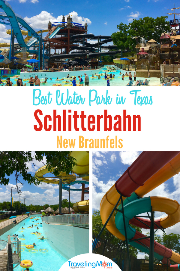 Visit the best water park in Texas in-between Austin and San Antonio. It features two separate parks connected by a free tram with water coasters, raging rivers and lots pools to explore. #TMOM #waterparks #Summer #FamilyTravel