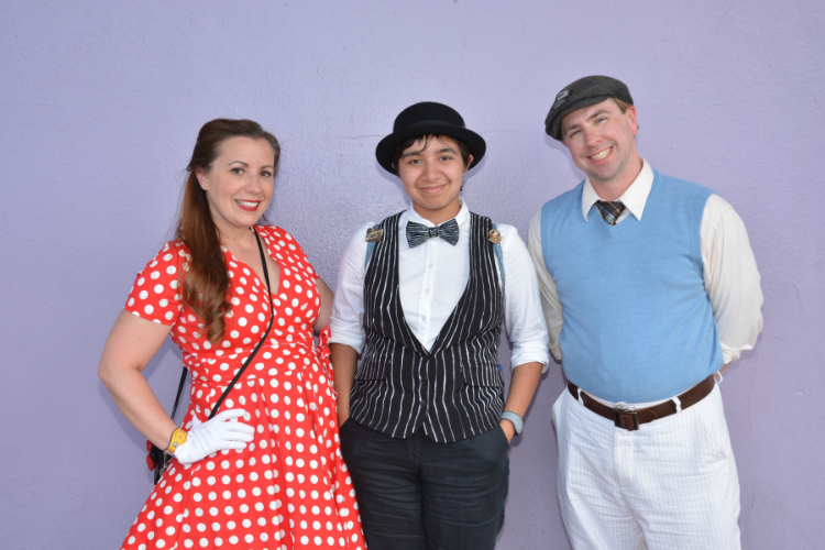Dapper Day Disneybounding as Minnie Mouse, Jack Skellington, and Walt Disney.