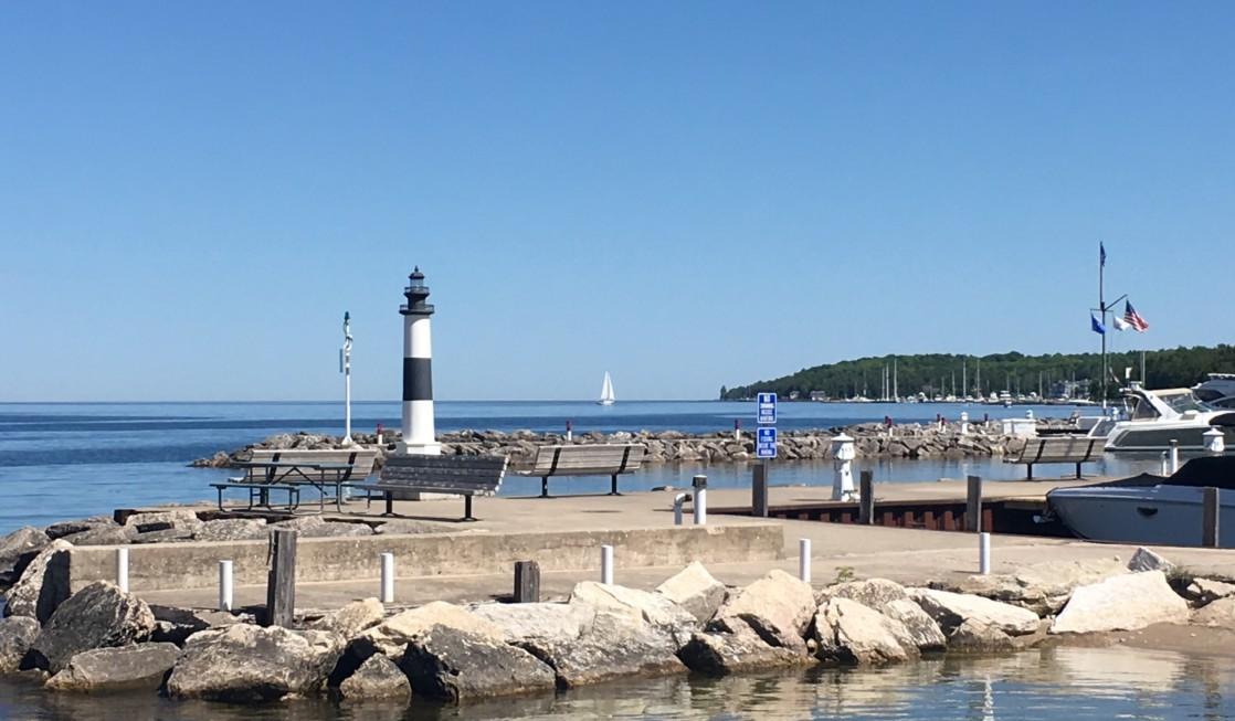 The public beach and playground in the village of Sister Bay is a kid-friendly thing to do in Door County Wisconsin.