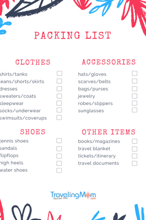Packing list to print and use each time you travel