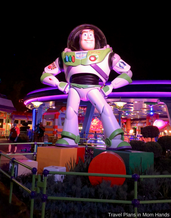 Lines in the evening at Toy Story Land may be shorter and definitely much cooler temps make for more comfortable wait times in the queues of attractions like Alien Spinning Saucers featuring Buzz Lightyear!