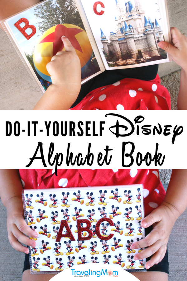 Teach your kids their ABCs the happiest way on earth--with photos taken at Disney World! This easy DIY Disney project will help kids recognize letters and learn to read while also reminding them of the fun they had on their Disney vacation! Would also be a great baby shower gift for a Dis0ney fan! #TMOM #TMOMDisney #Disney #Craft #ABC #Preschool #Toddler #Alphabet #DisneyProject #DisneyCraft #PrintYourBest