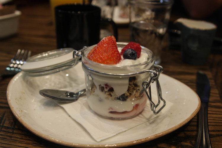The yogurt parfait at the Gurnee Grand Wolf Lodge