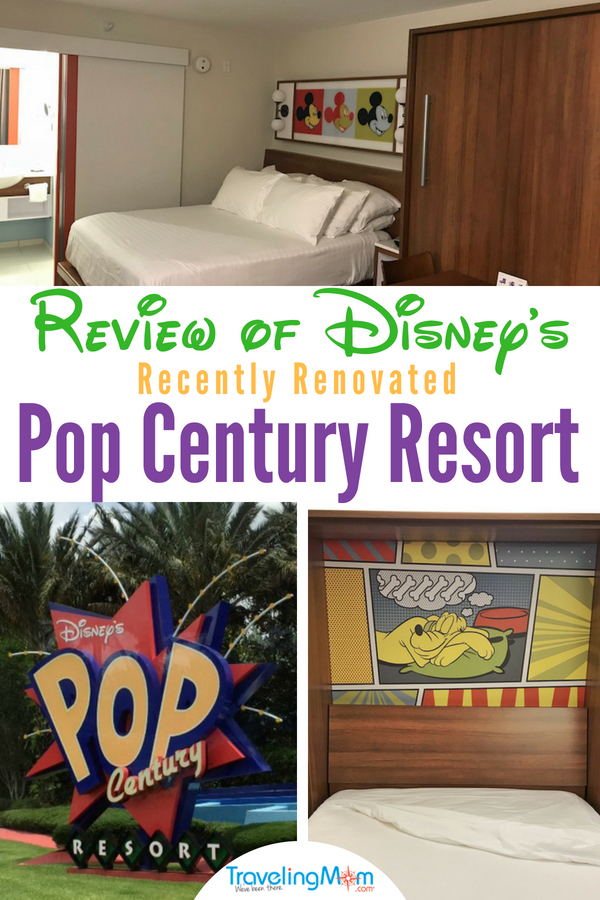 Check out everything you need to know about Walt Disney World's Pop Century in Orlando, Florida including pictures of the new renovations. Each room now has 2 Queen beds or 1 King. Plus our review of the resort with tips about their fun pools, food and why you want to pop over to nearby Art of Animation resort #Disney #WaltDisneyWorld #FamilyTravel #Orlando