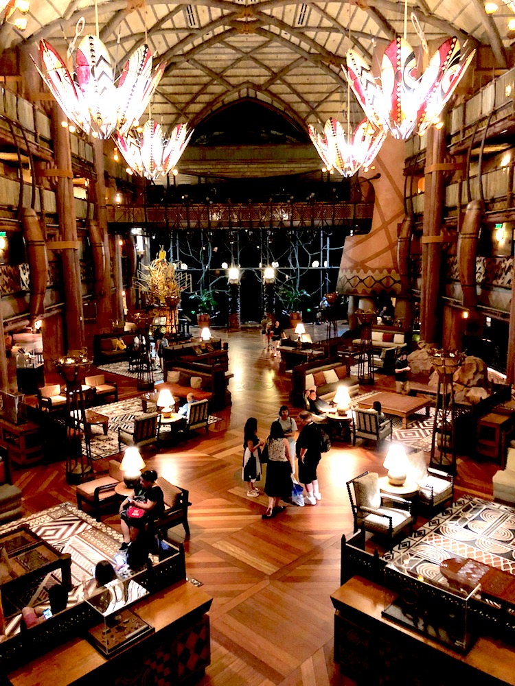 The lobby of Animal Kingdom Lodge has displays and comfy chairs