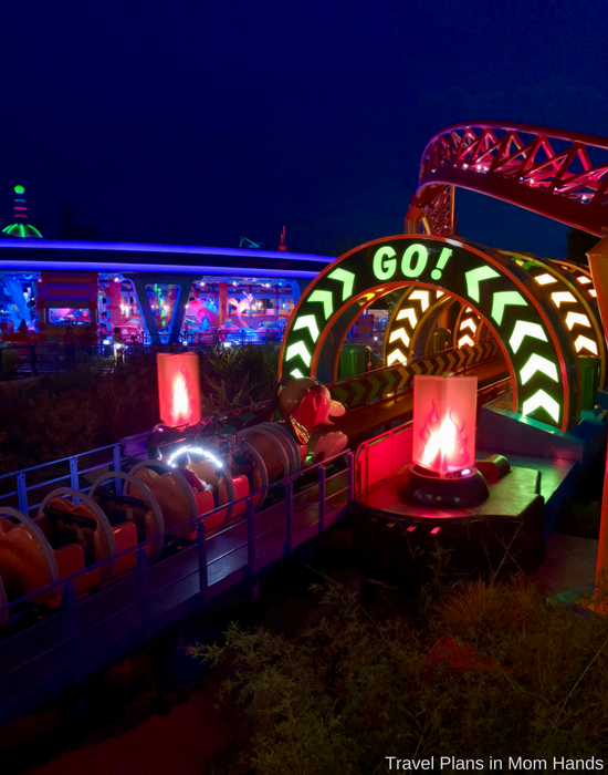 Slinky Dog Dash at nighttime is EPIC! This is one of our Toy Story Land tips because many guests may leave instead of staying at Hollywood Studios all day.
