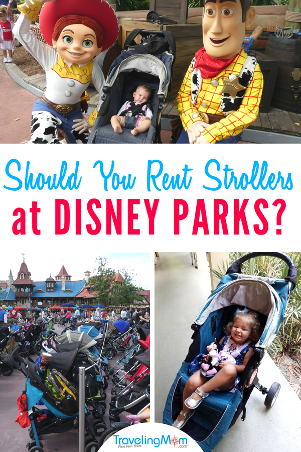 Wondering what to do about strollers at Disney parks? If you're planning a Disneyland or Disney World vacation here are all the tips you need on whether to bring your own, rent at the Disney parks, buy new or rent from a third party. #TMOM #Disney #Disneyland #DisneyWorld #TMOMDisney #Strollers #Toddlers #TravelwithKids #FamilyTravel #Florida #California