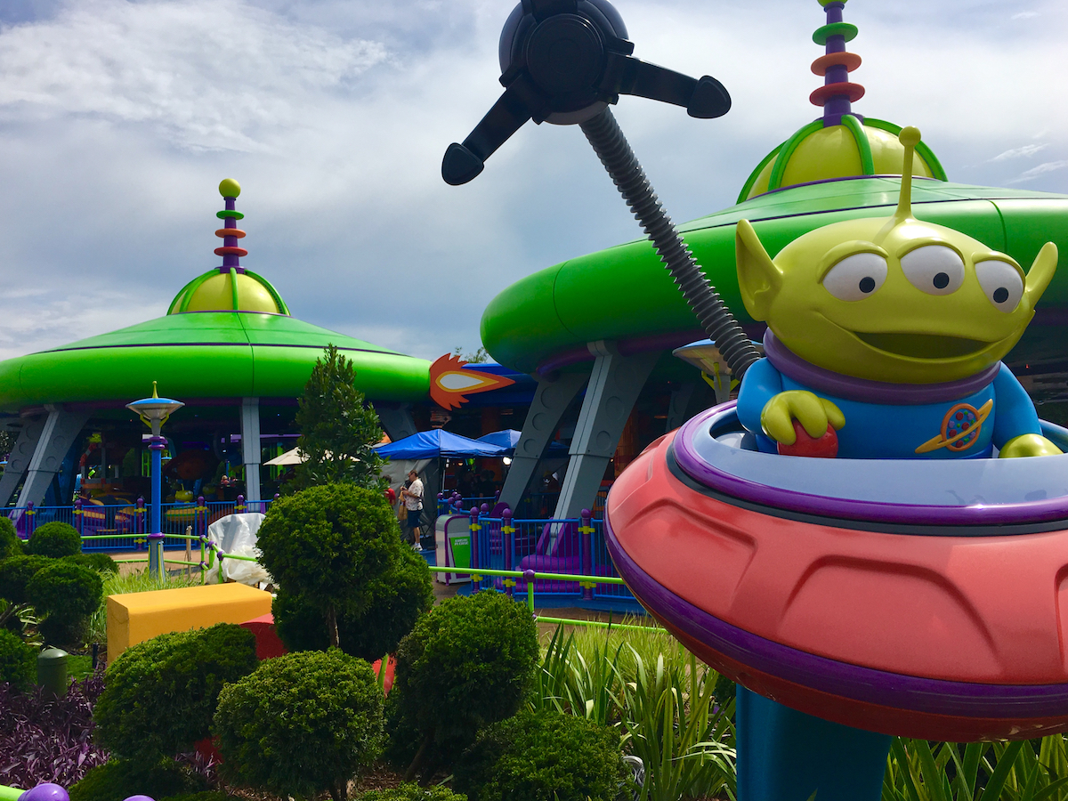 Swirling Alien Saucers in Hollywood Studios Toy Story Land. Hollywood Studios for Preschoolers.