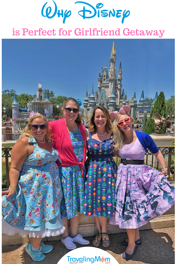 Disney girlfriend getaway. Girls all dressed up in front of the castle at Magic Kingdom. #Disney #girlfriendgetaway #adultvacation #furn #TMOM #Orlando