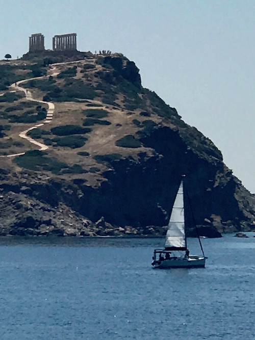 Cape Sounion outside of Athens, one of the ancient greek ruins to explore on Celestyal Cruises