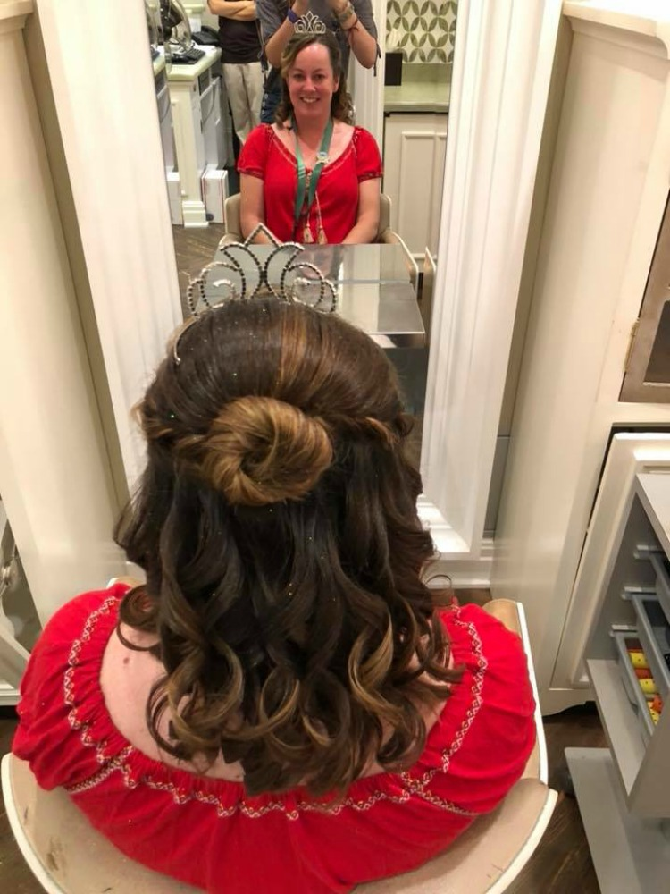 We love the bouncy curls that accompany this Belle Makeover.