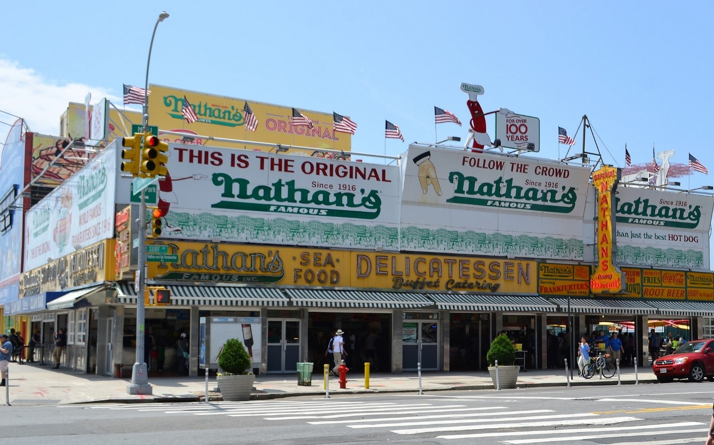 Nathan's iconic hot dogs.