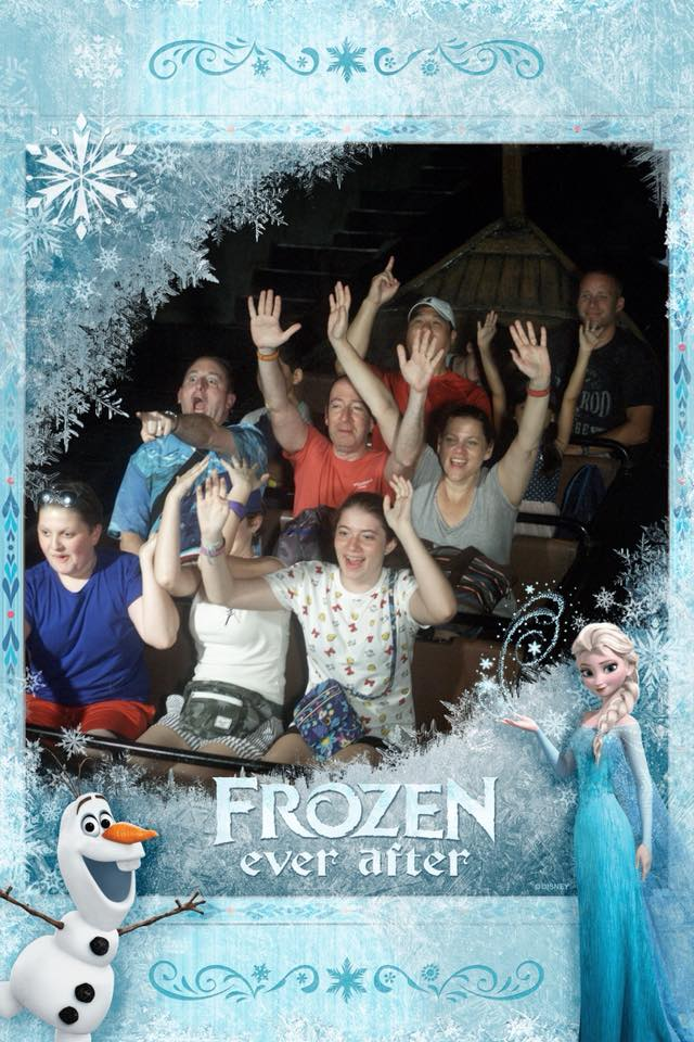 Disney World ride picture on the Frozen Ever After ride.