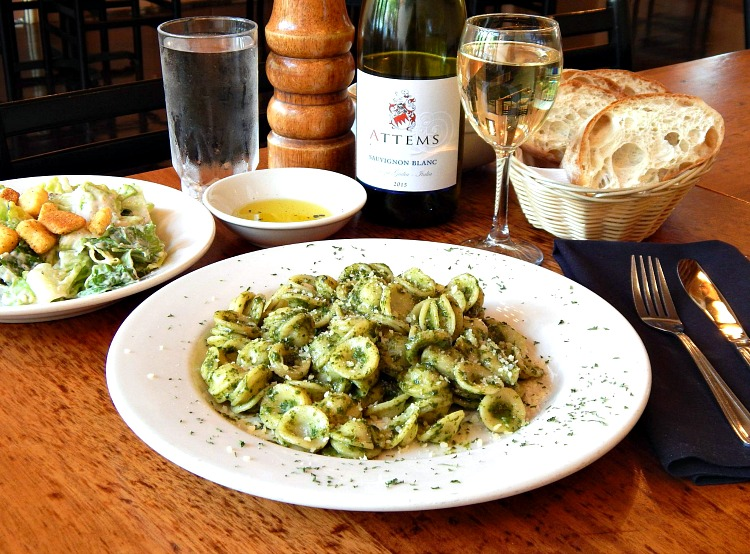 pesto and orecchiette at Caffe Luna, one of the best places to eat in Raleigh NC