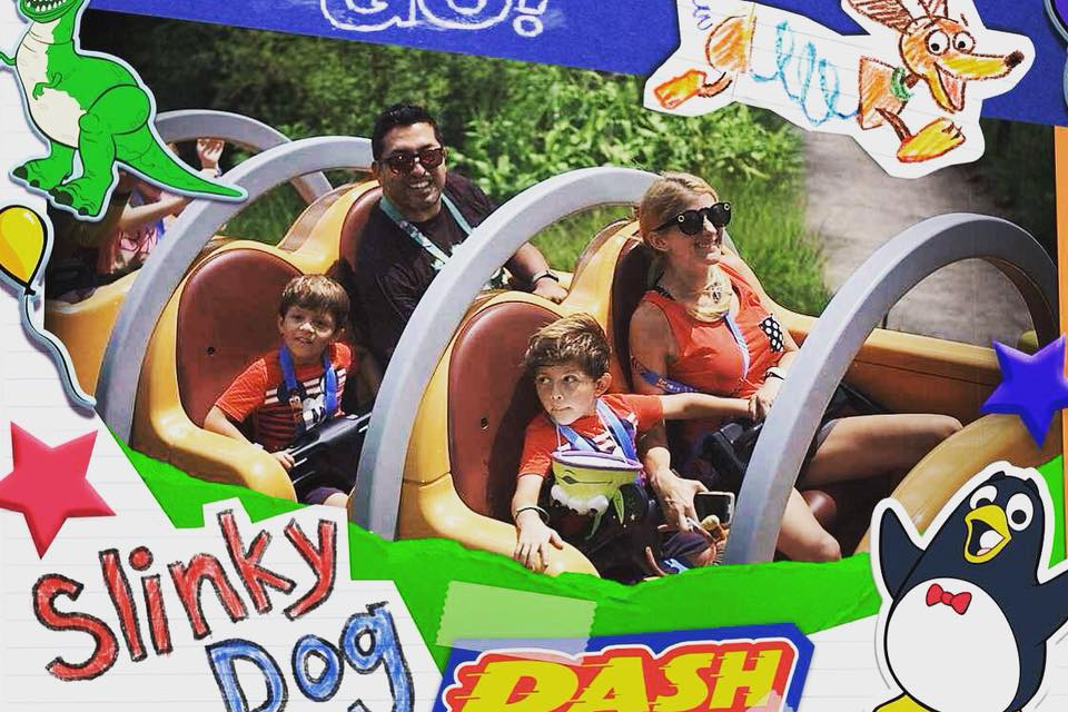 Family riding Slinky Dog Dash roller coaster during one day at Disney's Hollywood Studios