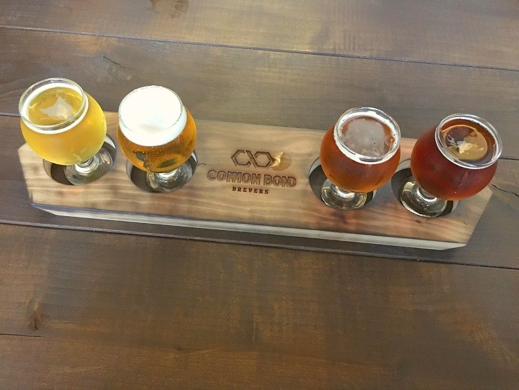 Tasting flight at Common Bond Brewery in Montgomery AL. The tasting includes a great IPA and a rye amber beer. #beertasting #beer #brewery #craftbeer #TMOM #Montgomery
