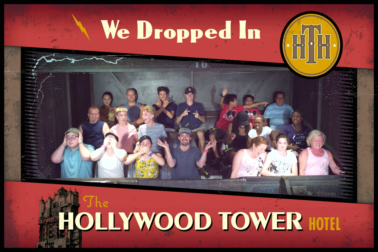 Disney World ride pictures on the Tower of Terror ride