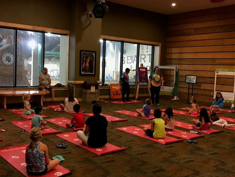 Great Wolf Lodge Anaheim even has yoga for younger children. Photo by Multidimensional TravelingMom, Kristi Mehes.