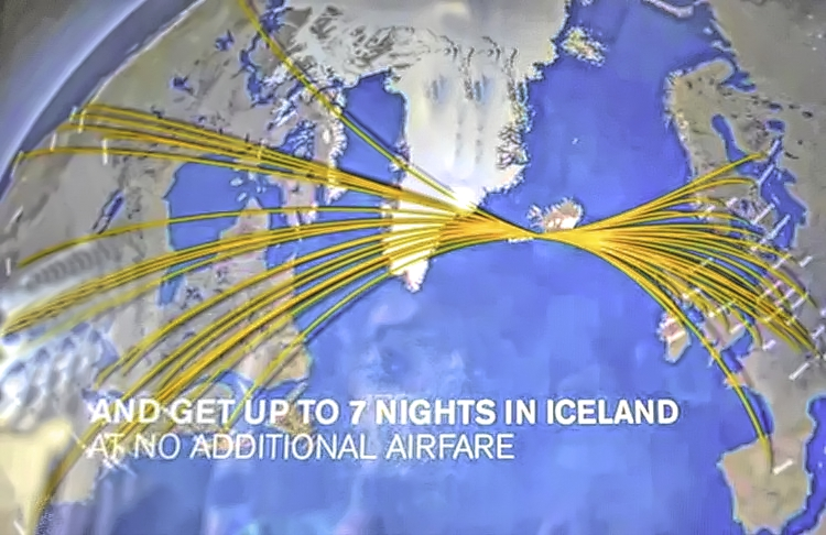 Planning Iceland road trip. Shot of a TV screen on Icelandair.