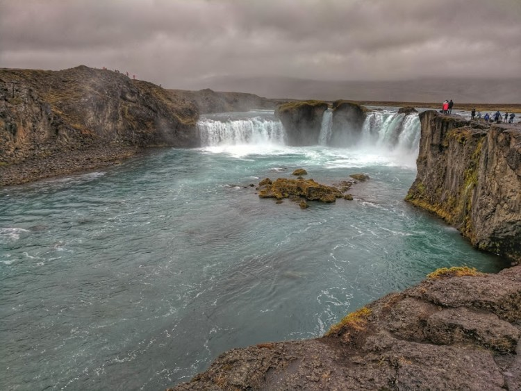 Planning Iceland road trip. Discover rugged beauty of Iceland - Godafoss waterfall.
