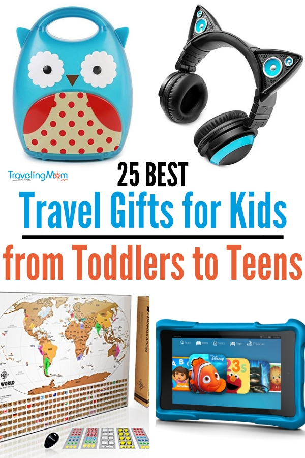 Give kids the gift of travel, but they will also need things to take with them on those travels. TravelingMom has come up with a comprehensive list of the best travel gifts for kids. Plan your holiday shopping with help from our list. #travelgifts #travelwithkids