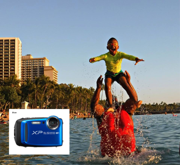Make a splash with this FujiPix waterproof camera| TravelingMom Best Travel Gifts for Women