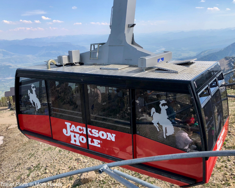 Teton Village Aerial Tram takes guests for panoramic views and up to Corbet's Cabin for yummy waffles, making it one of our favorite things to do in Jackson Hole and Grand Tetons.