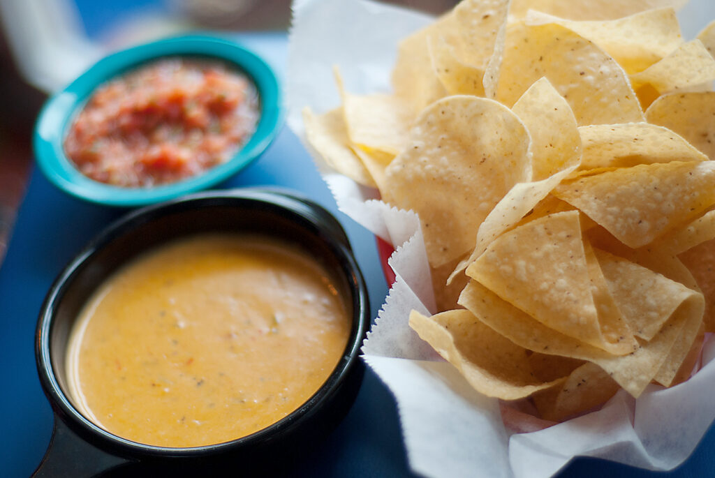 Chips Salsa Queso at Chuys, a place to eat on an itinerary in Austin