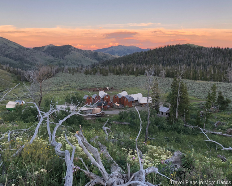 One of the best places to stay in Jackson Hole and Grand Tetons area is Goosewing Ranch, a dude ranch featuring cabins and a glamping site with covered wagons.