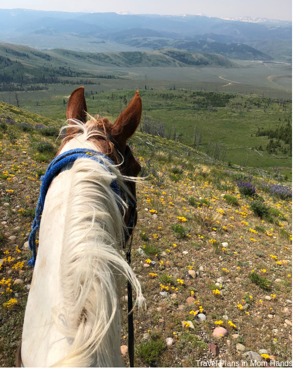 Horseback riding is way up there on things to do in Jackson Hole and the Grand Tetons-check out these views from Goosewing Ranch dude ranch!