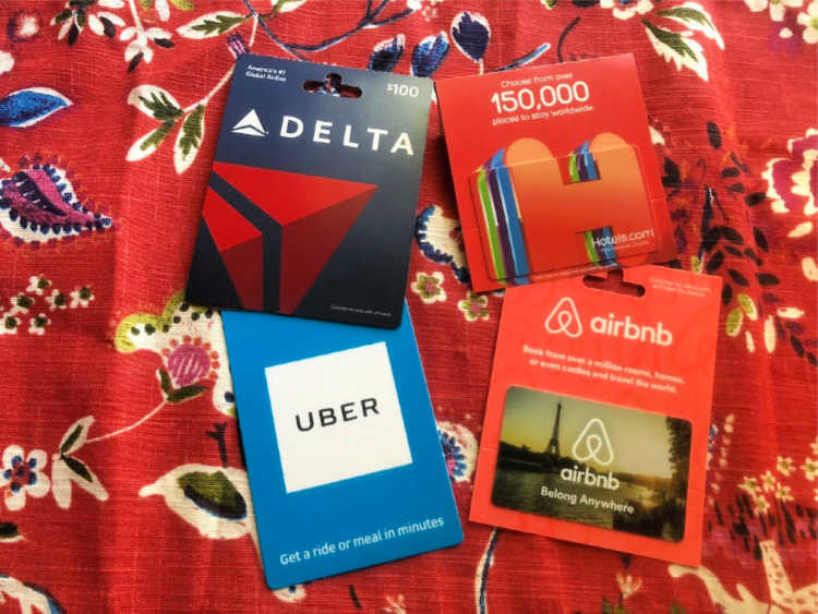 Gift cards might feel like a cop out but they're a gift that everyone loves. Just pick the right one for travel. | TravelingMom Best Travel Gifts for Women