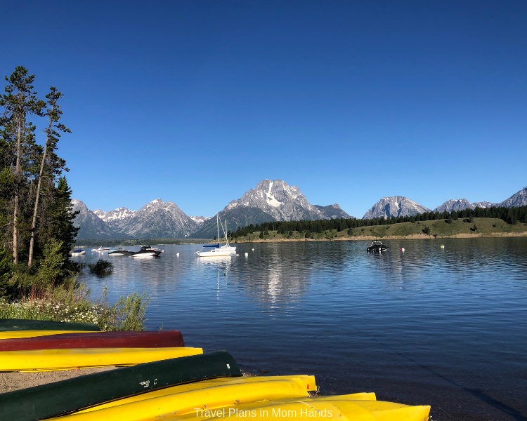 Best places to stay in Grand Tetons and Jackson Hole is Signal Mountain Lodge for views like this one overlooking Jackson Lake from the marina