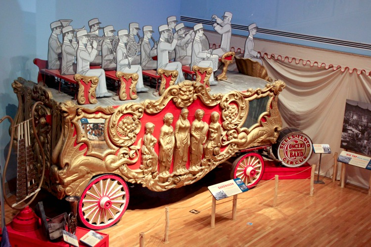 The Ringling Circus museum features actual circus items such as this train car